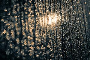 Rain drops across the window